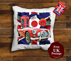 MGA Roadster Cushion Cover, MG A, Union Jack, Mod, Target, Poppy, Cushion - $9.01+