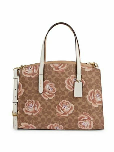 Primary image for Coach 31667 Charlie Carryall Signature Logo Rose Print Camoflage Zip Closure New