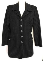 St. John Collection Marie Gray Pant Suit Size 2 Black Silver Stretch Hea... - $391.05