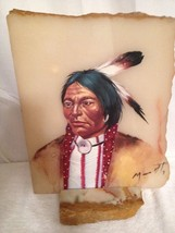 Beautiful Native American Indian Painting On Marble Slab With Marble Base - $71.53