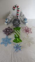 10 Christmas Plastic Sleigh, Leaf, Candy Cane, Star, Snowflake,Present,O... - $16.82