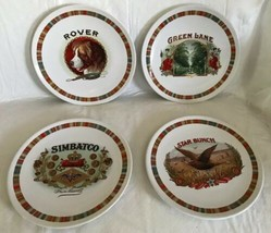 "POTTERY BARN Fireside Club 8.25"" Salad Plate Cigar Box Ads Set 4 Plates ... - $25.73"