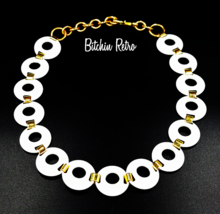 Monet White Enamel and Gold Link Necklace, Mod Circles, Vintage   - $27.00
