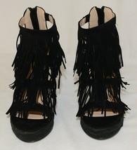 BF Betani Shiloh 8 Black Fringe Wedge Heel Sandals Size 5 And Half image 2