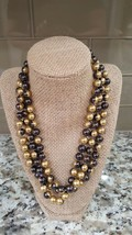 Vintage Long Glass Two Tone Beaded Necklace - $12.00