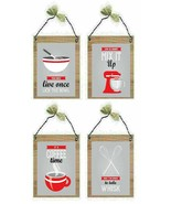 Red Retro Pictures Kitchen Whisk Blender Bowl Sayings Wall Hangings Plaques - $7.99+
