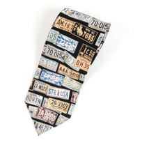 Structure License Plates Silk Necktie Tie - €13,07 EUR
