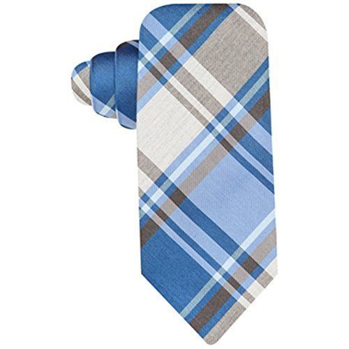 Alfani Tulum Grey Plaid Charcoal Blue Necktie MSRP $49.50