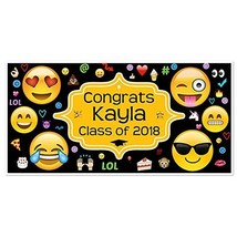 Class of 2018 Graduation Emoji Banner Personalized Party Backdrop - £16.88 GBP