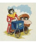 Cross Stitch Siamese Tabby Black Kitten Cat Framed Piece Antique Sampler... - $9.99