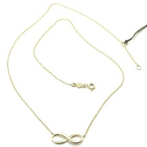"""18K YELLOW GOLD NECKLACE INFINITY INFINITE, ROLO CHAIN, 17.7"""" MADE IN ITALY image 1"""