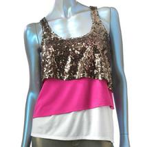 Rock & Republic Layered Pink Sequin Calypso Tank Top - $29.99