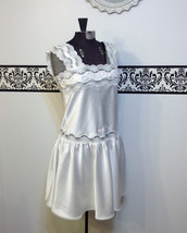 1970's Ivory Drop Waist Teddy by Delicates, Vintage Pin Up Negligee, 40'... - $34.99