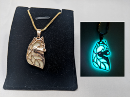 Siberian HUSKY GLOW in the DARK Gold Filigree Charm Necklace - Pendant Dog Pet - $14.95