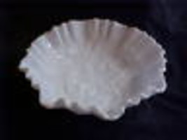 Imperial Glass Milk Glass Rose Double Crimped Bowl - $42.00