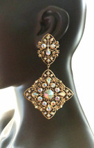 "4.25"" Long Oversized Vintage Look AB Rhinestone Clip On Earrings Pageant Bridal - $23.75"