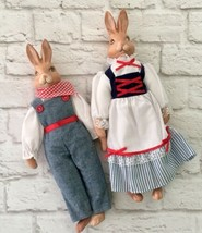 Ceramic Rabbit Couple Dressed Soft Body Male Overalls Female Dress Panta... - $19.79