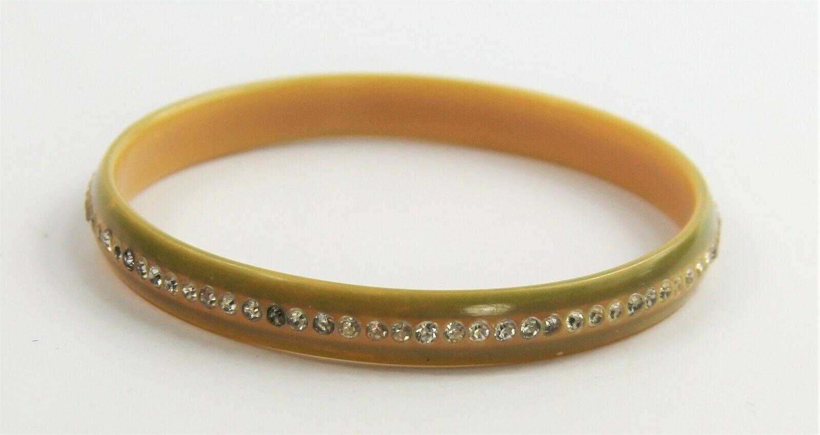 "7"" VINTAGE ESTATE Jewelry CELLULOID RHINESTONE SPARKLE BANGLE BRACELET"