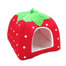 (red size S)Foldable Cat Dog Warm Cushion House Soft Strawberry Shape Pet D - $26.00
