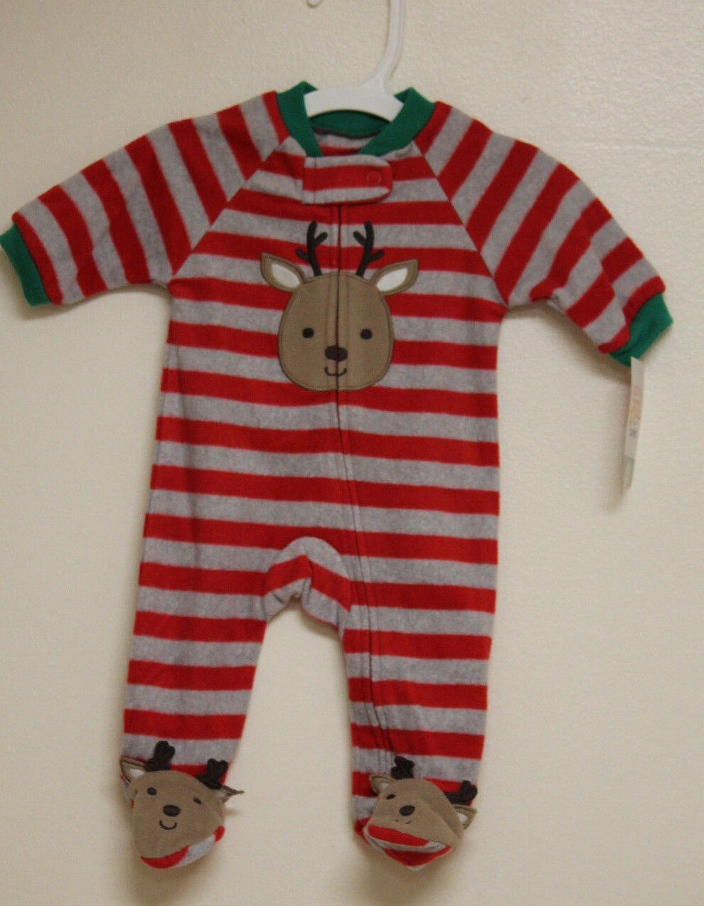 New! Just One You by Carters Fleece Sleeper Striped w/ Reindeer Red/Gray - $8.99