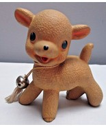 Vintage 1950 Era Squeaker Toy  Rempel Rubber Lamb with Bell 4 Inches Tall - $22.05