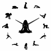 Yoga Girl Positions DIY 3D Wall Clock Mirror Acrylic Workout Home Decor ... - $36.41+