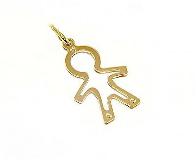 18K YELLOW GOLD LUSTER PENDANT WITH BOY CHILD PERFORATED MADE IN ITALY 1.02 INCH