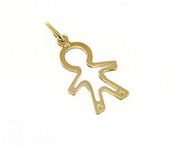 18K YELLOW GOLD LUSTER PENDANT WITH BOY CHILD PERFORATED MADE IN ITALY 1.02 INCH image 1