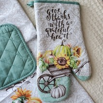 Kitchen Linens Set, 6pc, Give Thanks with a Grateful Heart, Sunflowers Pumpkins image 7