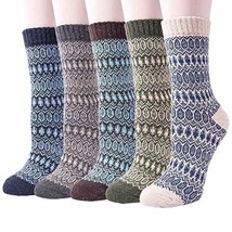 5 Pack Womens Warm Wool Socks Thick Knit Winter Cabin Cozy Crew Socks Gifts - $47.03