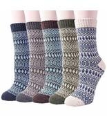 5 Pack Womens Warm Wool Socks Thick Knit Winter Cabin Cozy Crew Socks Gifts - $47.03