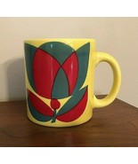 Waechtersbach W. Germany Yellow Tulip Mug, Vintage Ceramic HTF Retro 60's - $26.99
