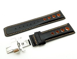 Black/Orange Leather Strap Band for TISSOT PRS516 watch clasp Rally Spor... - $26.98+