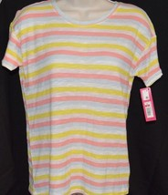 NWT Women's Xhiliration Sleepwear Striped PJ Top Pink, Yellow & Blue Siz... - $4.94