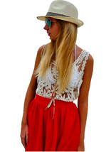 tp82 Celebrity Style Vintage Loose Fit Floral Crochet Lace Sleeveless Ca... - $16.99