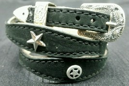 NEW BLACK HATBAND Scalloped Leather w/ SILVER STAR CONCHOS & Buckle Set Hat Band - £18.39 GBP