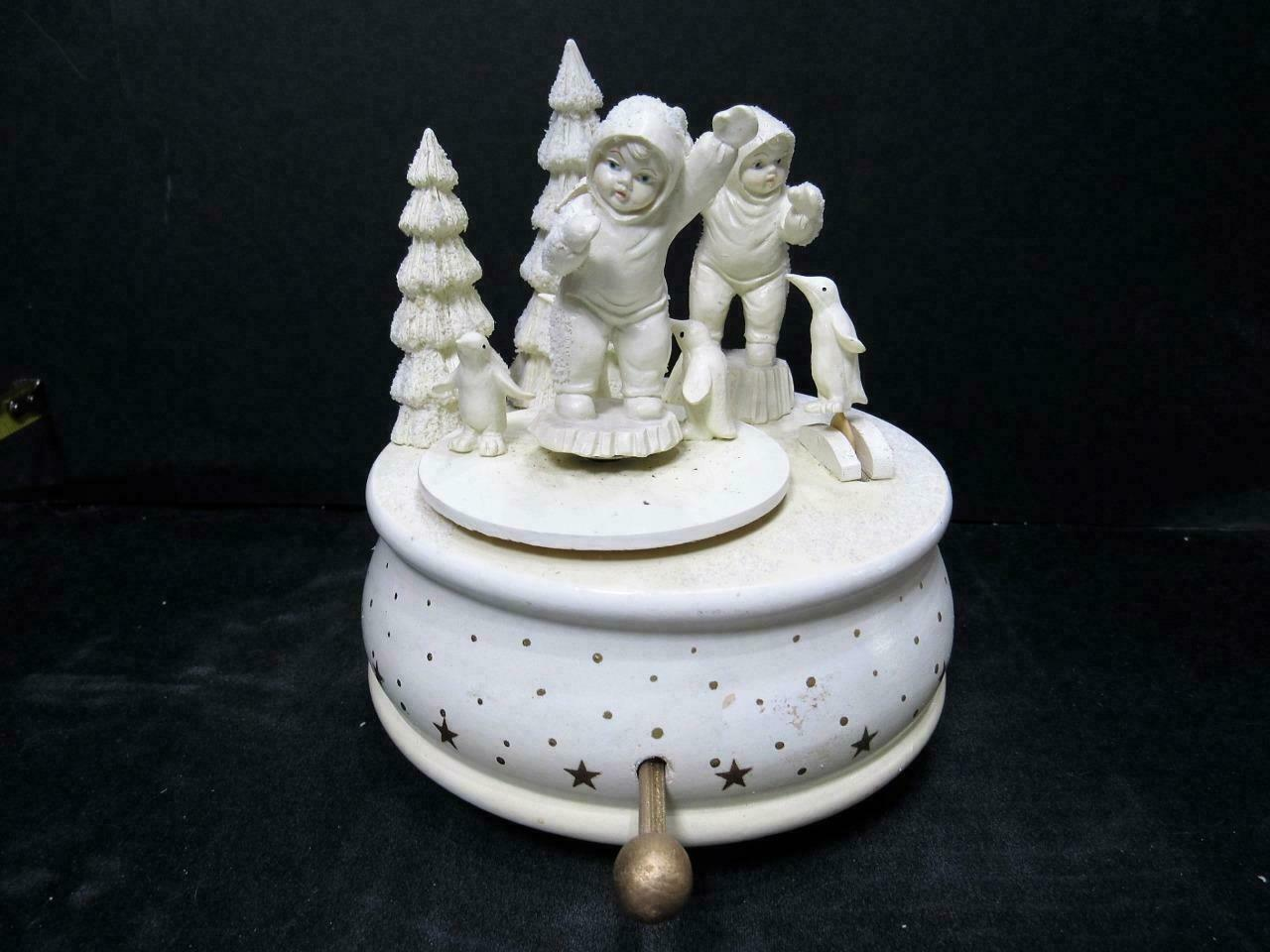 "Primary image for (BROKE)#30""PLAYING GAMES IS FUN MUSIC BOX"" Dept 56 Snowbabies CHRISTMAS FIGURINE"