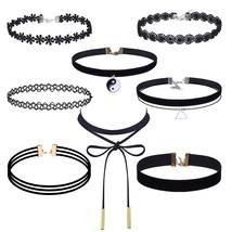 8 Pieces Choker Necklace Set Stretch Velvet Classic Gothic Tattoo Lace C... - $39.95