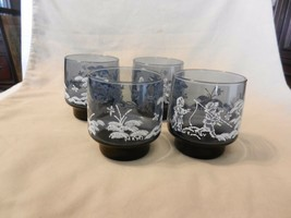 Set of Four Libby Mary Gregory Glasses, Blue & Embossed White Kids Fishi... - $29.70