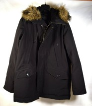 Gap Coat Puffer Jacket Primaloft Insulated Cold Control Faux Fur Hood Black M - $54.45