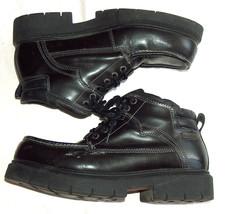 Vintage 1990s Skechers Mens 12 Black Leather Chunky Heel Tread Ankle Boo... - £36.42 GBP