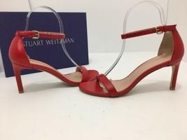 Stuart Weitzman Nunakedstraight Women's High Heels Sandals SIZE 6.5 Red Leather  - $229.88