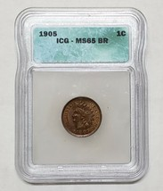 1905 1c Indian Head Cent MS65 BR Coin Lot A 129