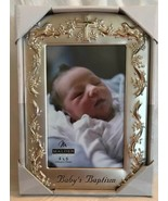 Malden Baby's Brushed Silver Baptism Christening Picture Frame Holds 4x6... - $16.82