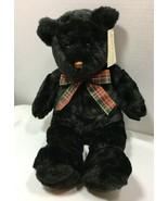 Vintage Black Teddy Bear Plush Plaid Bow 1999 Sesil Co Lord & Taylor Col... - $11.99