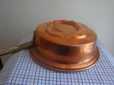 PRETZEL Vintage Handmade Greek Embossed COPPER  Pan w Long handle Mold Tin Lined image 2