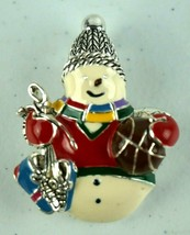 Vintage Jewelry Brooch Snowman Holding Skates & Ball  - $13.99