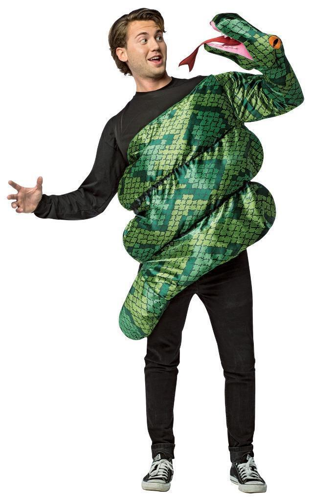 Anaconda Costume Snake Attack Green Funny Adult Men Women Halloween GC7895