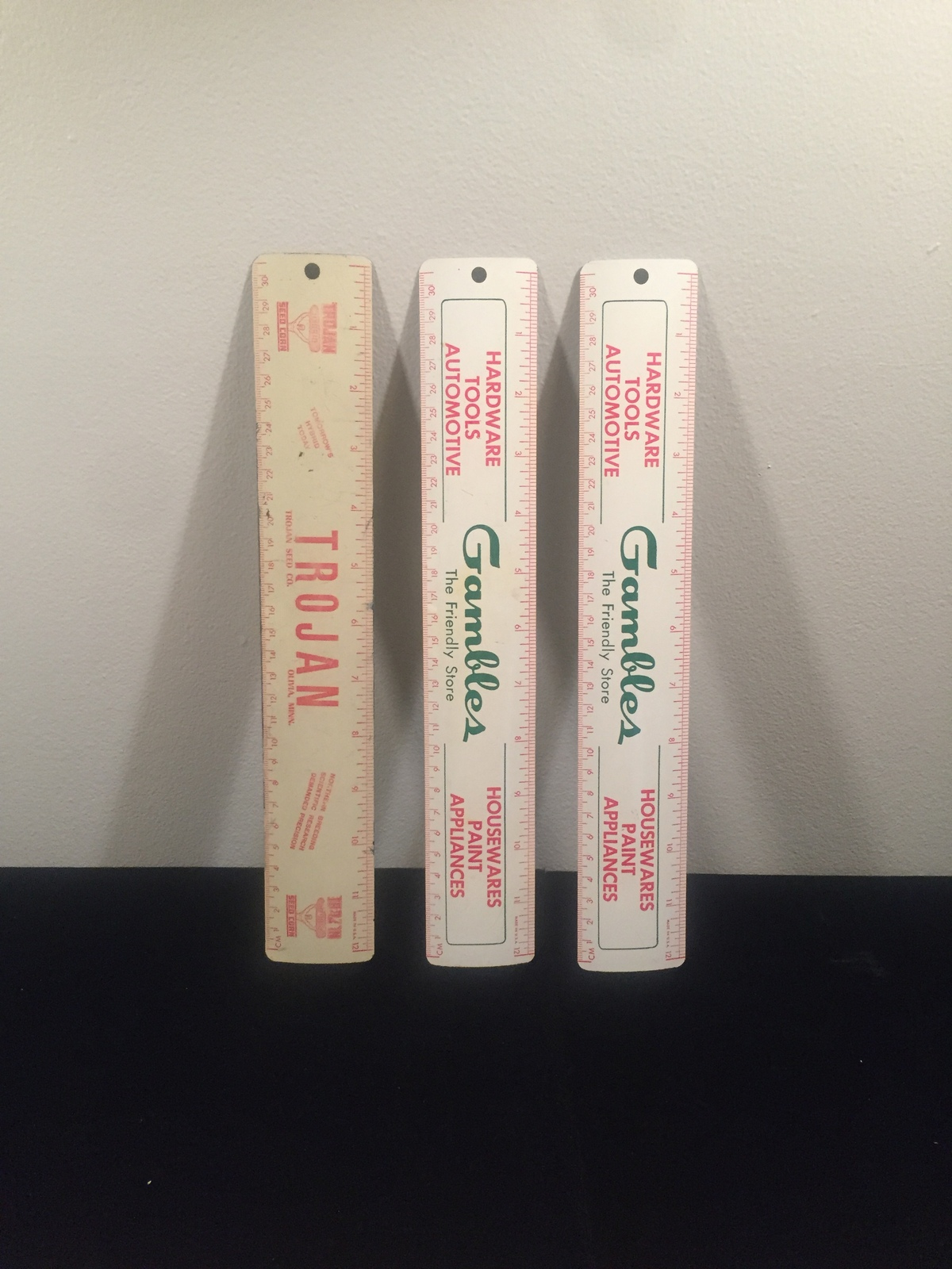 "Vintage 50s aluminum 12"" rulers - promo / giveaway (Gambles and Trojan Seed Co)"