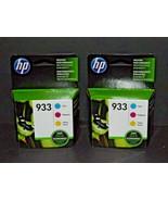 2 Boxes HP Hewlett Packard Genuine Ink 933 Combo Cyan Magenta Yellow 7/2... - $32.66